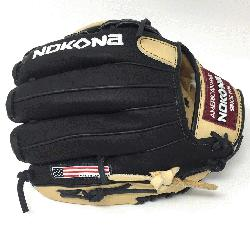 Glove made of American Bison and Supersoft Steerhide leather combined in black