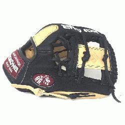 Young Adult Glove made of American Bison and Supersoft Steerhide leather combined in black