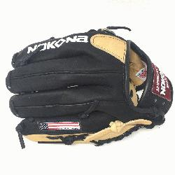 oung Adult Glove made of American Bison and Supersoft Steerhide leather combined in black and