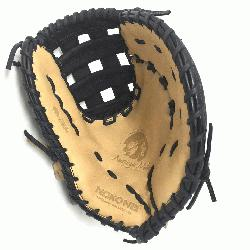 t Glove made of American Bison and Supersoft Steerhide leather combined in black and cream color