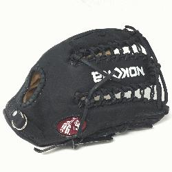 Glove made of American Bison and Supersoft Steerhide leather combined in black and cream co