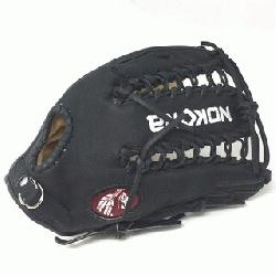 dult Glove made of American Bison and Supersoft Steerhide leather combined in black and cream co