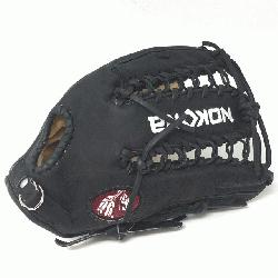 Glove made of American Bison and Supersoft Steerhide leather combined in black and crea