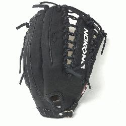 Adult Glove made of American Bison and Supersoft Steerhide leather combined in black and cream