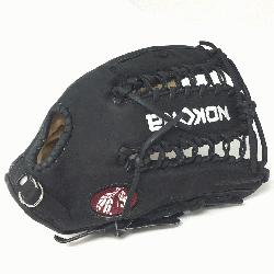 Adult Glove made of American Bison and Supersoft Steerhide leather combined in black and cr