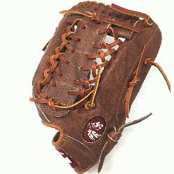 classic walnut leather baseball glove with modified trap