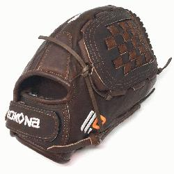 h Softball Glove 12.5 inches Chocolate lace. Nokona Elite performance ready for play position