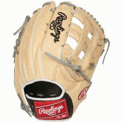 """of the Hide 12.75"""" baseball glove features a the PRO H Web patt"""