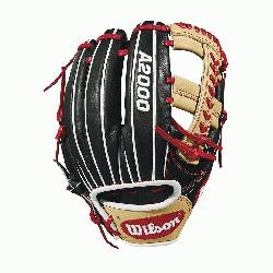 with Baseball stitch New pattern featuring gap welting Black, blonde and Red Pro Stock leather, pre