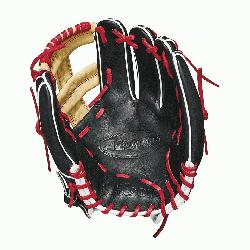 th Baseball stitch New pattern featuring gap welting Black, blonde and Red Pro Stock leather, p