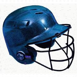 tar BH6100FFG Batting Helmet with Faceguard and Mettalic Flakes (Navy) : Metallic finis