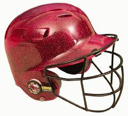 00FFG Batting Helmet with Faceguard and Metalic Flakes (Scarlet)