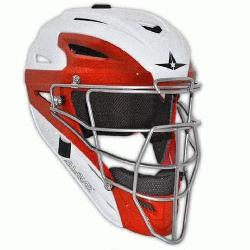 System 7 Two Tone Catchers Helmet MVP2500WTT 7 to 7 34 (White-Scarlet) : All-Star crea