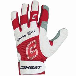 Combat Derby Life Adult Ultra Batting Gloves (Red, Medium) : Derby Life Ultra-Dry Mesh Ba