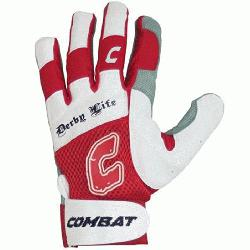 Combat Derby Life Adult Ultra Batting Gloves (Red, Medium) : Derby Life Ultra-Dry