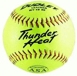 y Thunder Heat 12 ASA Fastpitch Softballs Leather Cover COR 47 Compression 375lbs 1 Doz