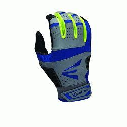 Easton HS9 Neon Batting Gloves Adult 1 Pair (Grey-Navy, XL) : Textured Sheepskin offers a great