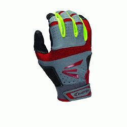 Easton HS9 Neon Batting Gloves Adult 1 Pair (Grey-Red, XL) : Tex
