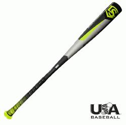 8 (-10) 2 5/8 USA Baseball bat from Louisville Slugger is designed to