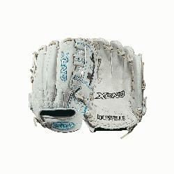 .75 infield glove Dual post web Memory foam wrist lining White and Aqua blue