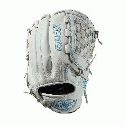 nfield glove Closed weave web Memory foam wrist lining White and Aqua blue Female-specific patter