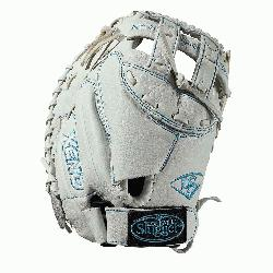 s mitt Dual post web Memory foam wrist lining White and Aqua blue Femal