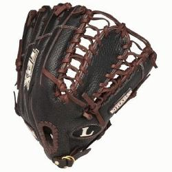 is a 12.75 Outfield model. It has a closed back with strap, and an