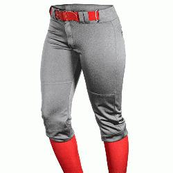 Womens Fast Pitch OKC Low Rise Softball Pants Grey : Womens Fast Pitch Pants with 2-inch elastic w