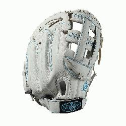 se glove Dual post web Memory foam wrist lining White and Aqua blue Female-specific patter