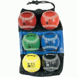 kwort Set of 6 Weighted Baseballs Synthetic Cover : Build your arm strength with this set of w