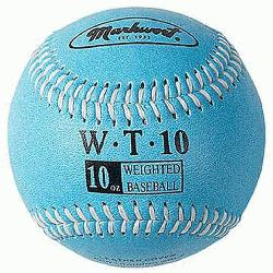 Weighted 9 Leather Covered Training Baseball (10 OZ) : Build your arm strength with Markwor