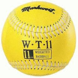 ort Weighted 9 Leather Covered Training Baseball (11 OZ) : Build your arm strength with M