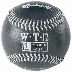 Markwort Weighted 9 Leather Covered Training Baseball (12 OZ) : Build your arm strength wi