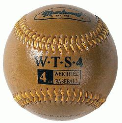 Markwort Weighted 9 Leather Covered Training Baseball (4 OZ) : Build your arm stre