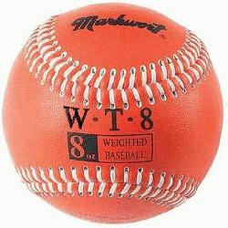 Weighted 9 Leather Covered Training Baseball (8 OZ) : Build