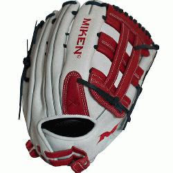 nMiken Pro Series 13.5 slow pitch softball glove features soft,