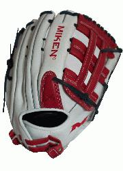nMiken Pro Series 14 slow pitch softball glove features soft, full-grain leather which