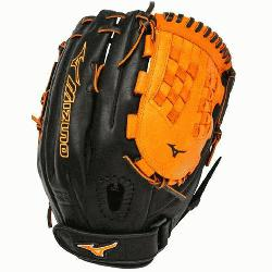 MVP1250PSEF3 Fastpitch Softball Glove 12.5 inch (Black-Orange,