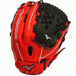o GMVP1250PSEF3 Fastpitch Softball Glove 12.5 inch (Red-Black, Right Hand Throw)