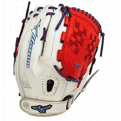 P1250PSEF3 Fastpitch Softball Glove 12.5 inch (Silver-Red-R