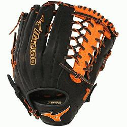 77PSE3 MVP Prime Baseball Glove 12.75 inch (Black-Orange, Right
