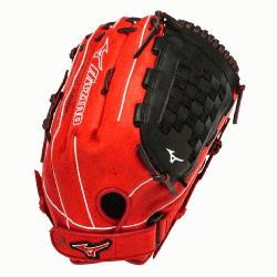 3 Slowpitch Softball Glove 14 inch (Red-Blac