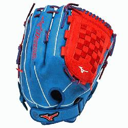 3 Slowpitch Softball Glove 14 inch (Royal-Red, Right Hand Throw)