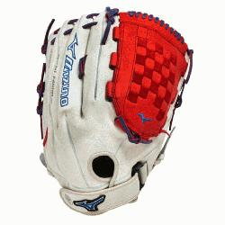 00PSES3 Slowpitch Softball Glove 14 inch (Silver-Red-Royal, Righ
