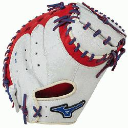 50PSE3 Catchers Mitt 34 inch MVP Prime (Silver-Red-Royal, Right Hand Throw) : Patent pendin