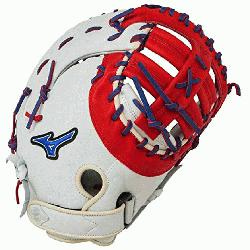 izuno GXF50PSE3 MVP Prime First Base Mitt 13 inch (Silver-Red-Royal, Right Han