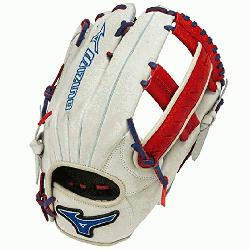 Mizuno Slowpitch GMVP1250PSES3 Softball Glove 12.5 inch (Silver-Red