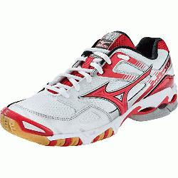 Womens Volleyball Shoes 430170 (White-Red, 7.5) : The Mizun