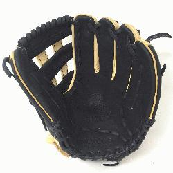 Adult Glove made of American Bison and Supersoft Steerhide leather combined in black a