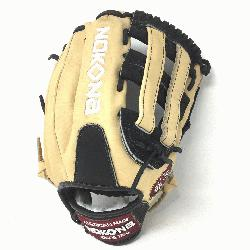 ung Adult Glove made of American Bison and Supersoft Steerhide leather combined in black and cream